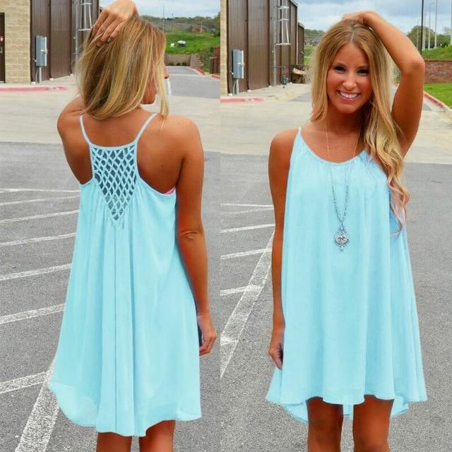 Women beach dress fluorescence female summer dress chiffon voile