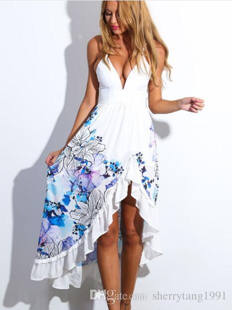 Summer Floral Print Maxi Dresses Womens Beach Club Casual Sleeveless