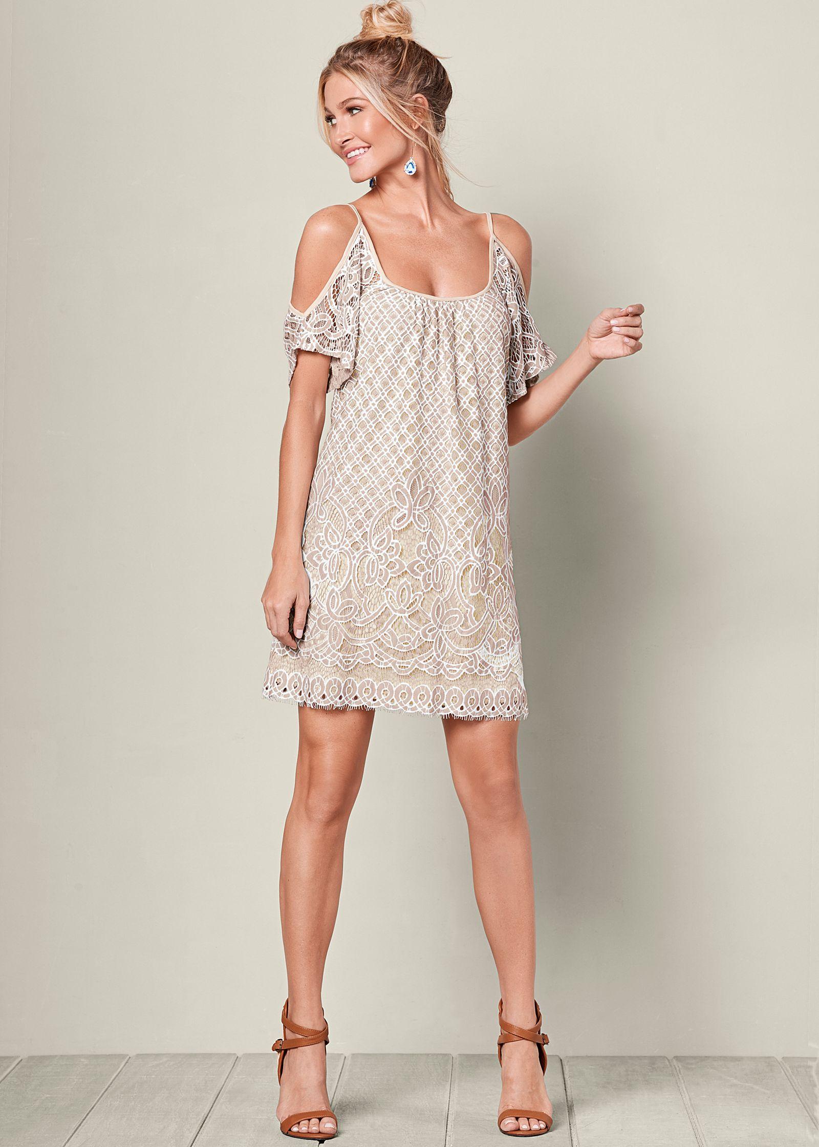 COLD SHOULDER LACE DRESS in Ivory Multi   VENUS