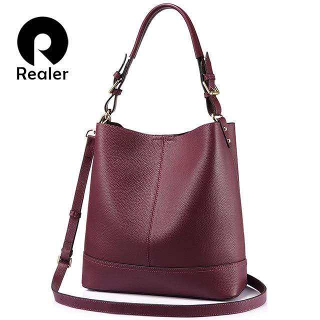 REALER bucket bag women handbags shoulder crossbody bags female