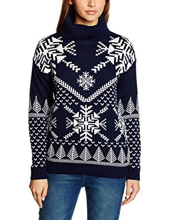 British Christmas Jumpers - Snowflake Polo Neck - Womens Christmas