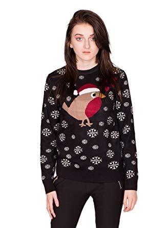NOROZE New Womens Christmas Jumper Robin White Glitter Snowflakes +