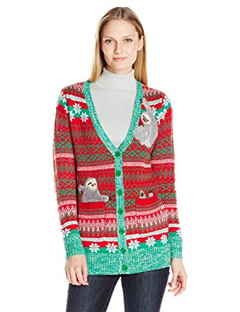 Blizzard Bay Women's Sloth Cardigan Ugly Christmas Sweater at Amazon