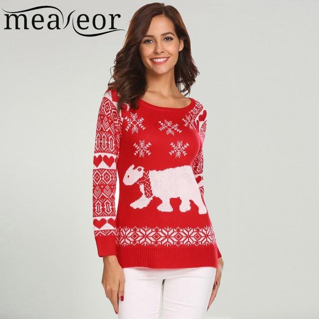 Meaneor Women Christmas Sweater Casual O Neck Long Sleeve bear