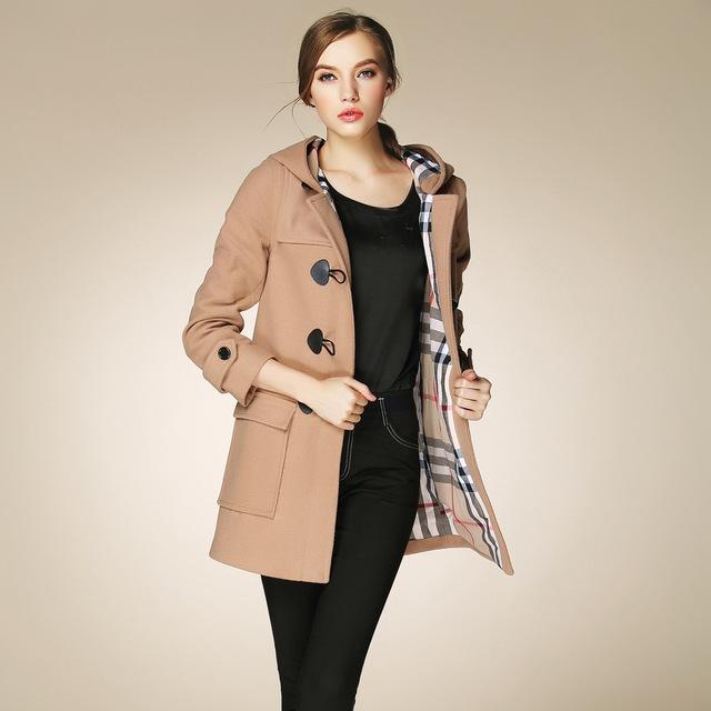 Fasicat High Quality Womens Duffle Coat Long Turn Down Collar Woolen