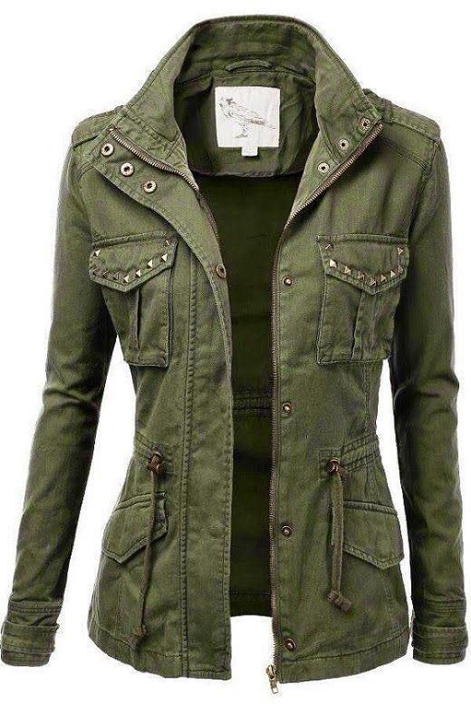 Jacket with stud detailing. #women #jacket   fashion   Military