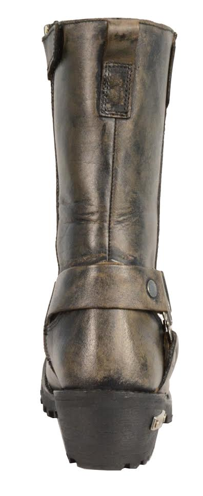 Women's Distressed Brown Motorcycle Boots Genuine Leather