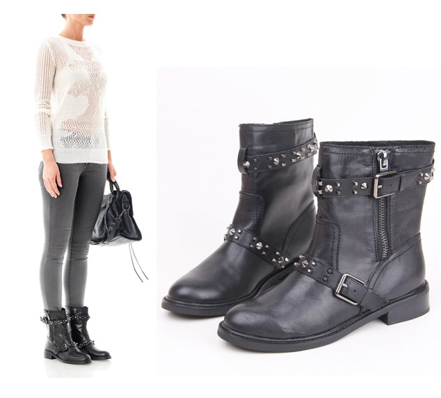 New High Quality Cool Women Motorcycle Boots Genuine Leather Black