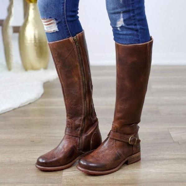 Women Vintage Leather Buckle Knee High Riding Boots u2013 Kaaum