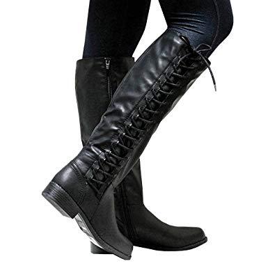 Amazon.com: Womens Riding Boots Lace-up Wide Calf Zipper Low Heel