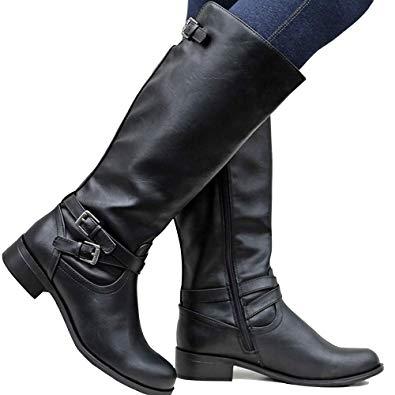 Amazon.com | Dellytop Womens Riding Boots Calf Length Block High