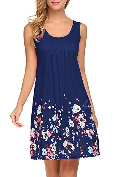 LuckyMore Womens Sundresses Floral T-Shirt Dress Summer Beach