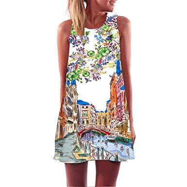 Amazon.com: Auwer 2019 Womens Sundresses Floral T-Shirt Dress Summer