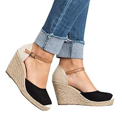 Amazon.com   Huiyuzhi Womens Wedge Sandals Ankle Strap Cap Toe