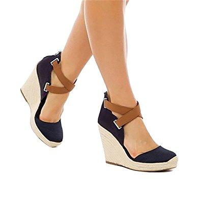 Amazon.com   Ferbia Wedges Shoes for Women Espadrilles Heels Ankle