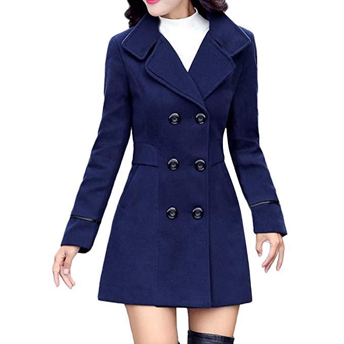 Amazon.com: POTO Women Coats Ladies Double Breasted Pea Coat Elegant