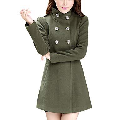 Amazon.com: POTO Women Coats Women's Wool Coat Double-Breasted Pea