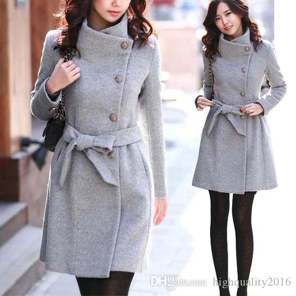 New Style Womens Winter Warm Woolen Trench Parka Wool Coat Slim