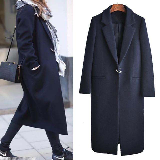 2018 New Autumn Winter Woolen Coat Women Long Woolen Coat Female
