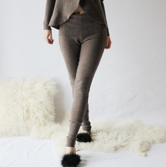 Womens Wool Leggings in Merino Wool Sweater Knit Warm   Etsy