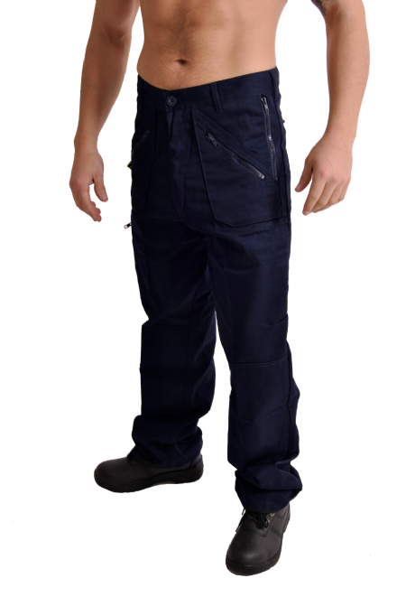 Mens Navy Multi Pocket Work Trousers