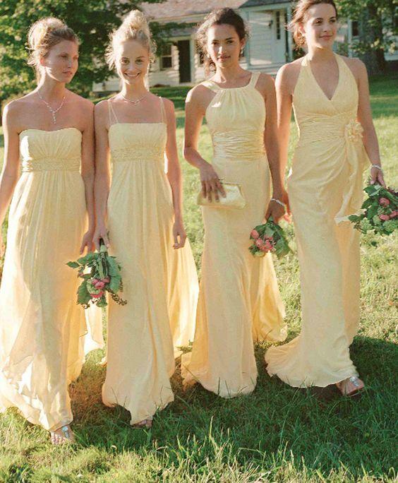2018 Yellow Bridesmaid Dress, Different Style Chiffon Bridesmaid