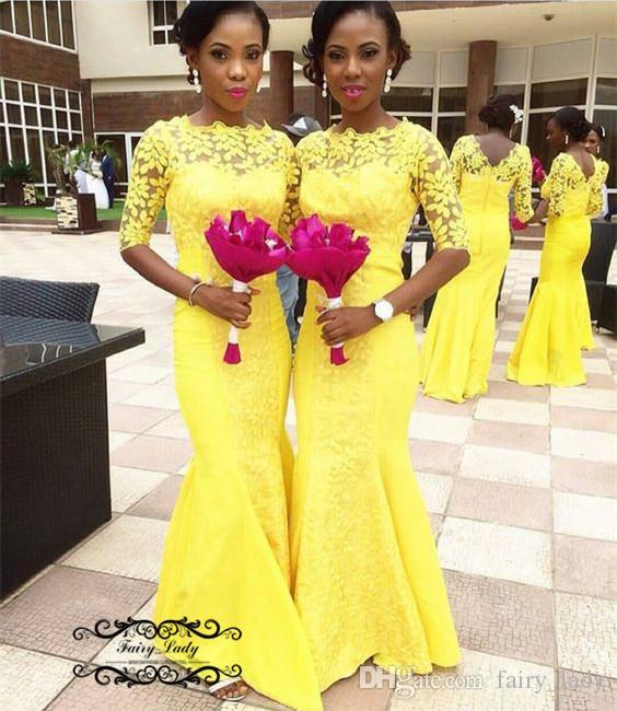 Yellow Bridesmaid Dresses With Half Sleeves Mermaid Long 2018 Sheer