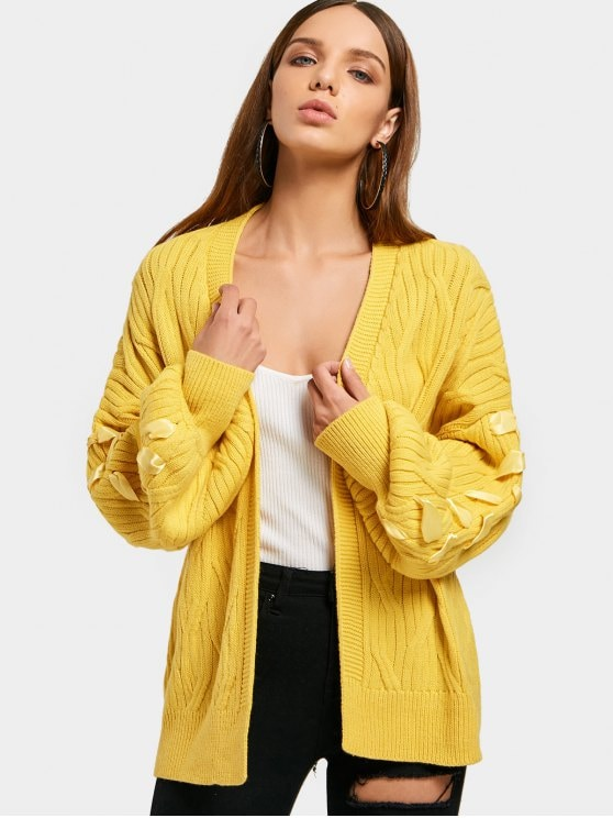 2019 Lantern Sleeve Open Front Lace Up Cardigan In YELLOW ONE SIZE