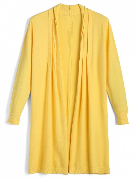 38% OFF] 2019 Long Open Front Knit Cardigan In YELLOW ONE SIZE | ZAFUL