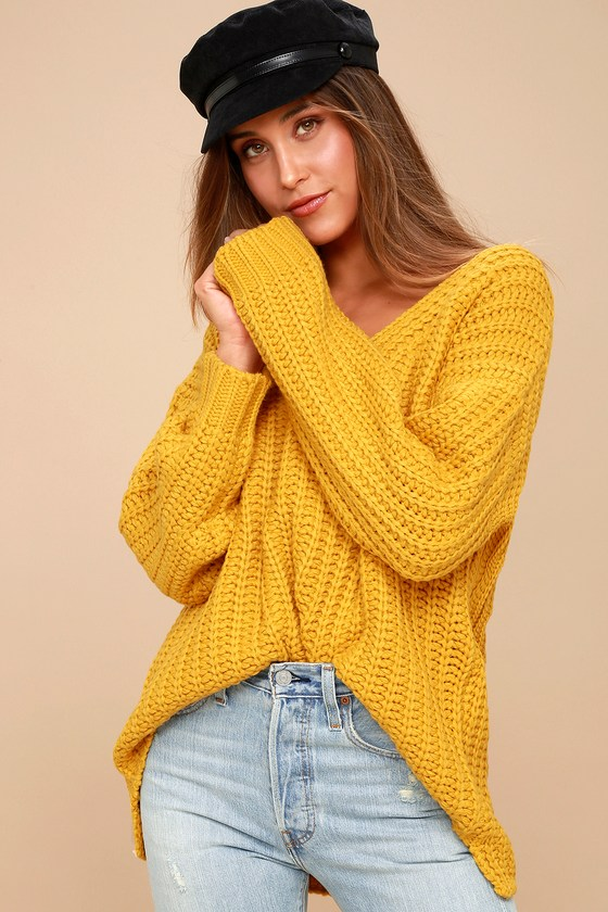 Cozy Knit Sweater - Mustard Sweater - Chunky Knit Sweater