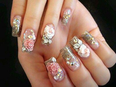 glittery 3d nail art   3d nail designs, 3d nails, Nail desig