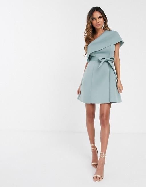 ASOS DESIGN one shoulder crop top belted a-line mini skater dress .