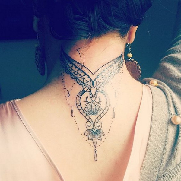 55+ Attractive Back of Neck Tattoo Designs - For Creative Jui