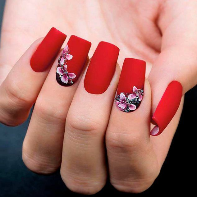 beautiful-flowers-nail-square-matte-red-3d Top 14 Beautiful .