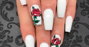 Awesome White Acrylic Nails | NailDesignsJournal.com | Rose nails .