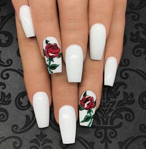 yasminnsofiaa   💅   Rose nails, White acrylic nails, Coffin shape .