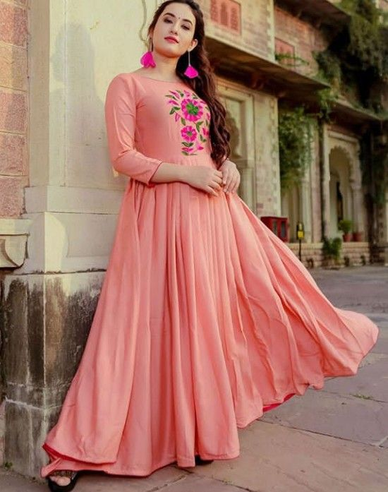 Beautiful Long Kurti with embroidery embellishment and detailing .