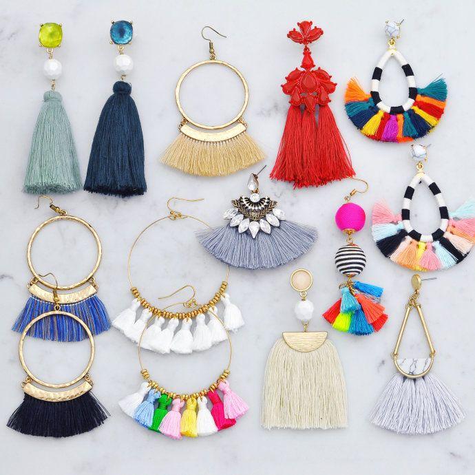 Tassel Statement Earrings   Diy earrings, Diy tassel, Tassel jewel