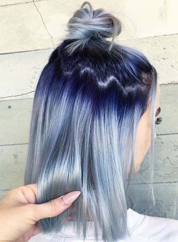 Gorgeous Blue Hair Color Ideas with Top Bun Styles in 2019 | Stylez