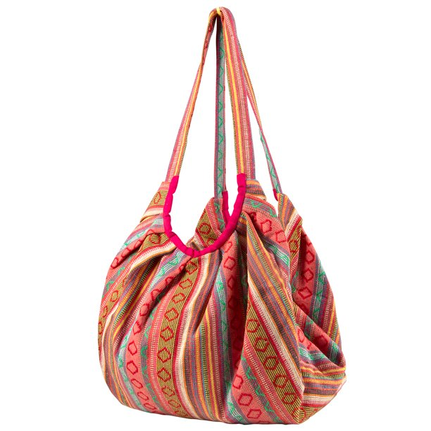 Tribe Azure - Pink Jacquard Cotton Baguette Shoulder Travel Canvas .