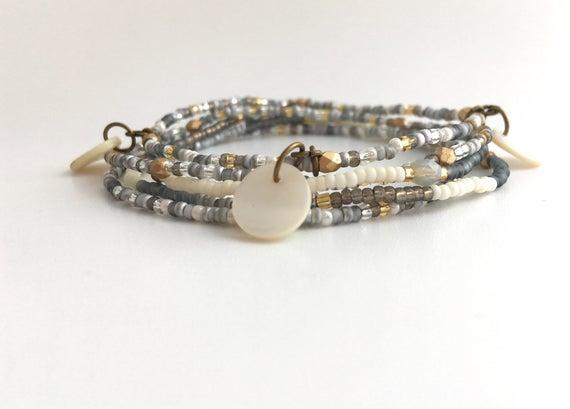 Boho Grey Stacking Bracelets/Seed Bead Bracelet Stacks/Stack | Et