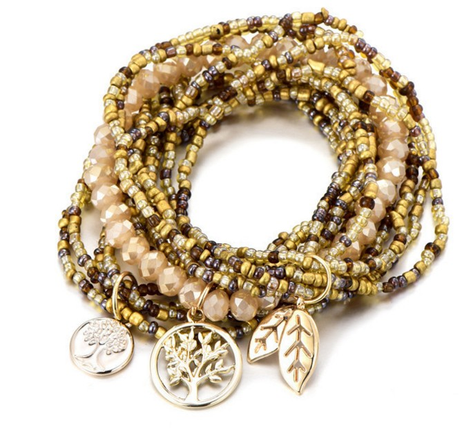 Golden Boho Beaded Bracelet Stack — Stacked New Yo