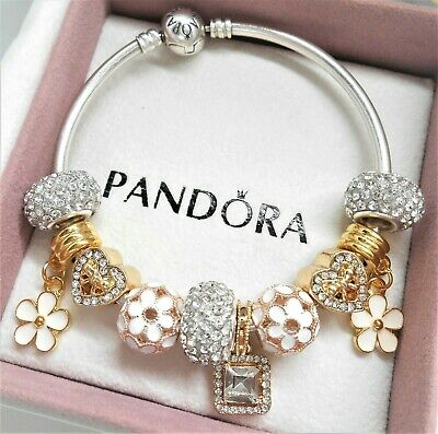 Authentic Pandora Silver Bangle Charm Bracelet With GOLD Heart .