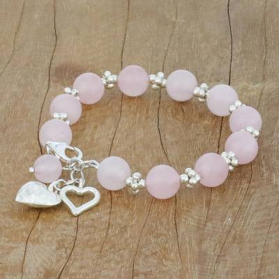 UNICEF Market   Rose Quartz Beaded Bracelet with Heart Charms from .