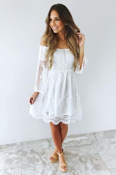 Bridal Shower Dress: White | White bridal shower dress, Boho .
