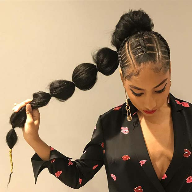 31 Bubble Ponytail Hairstyles With Weave To Wear This Year - Styleu