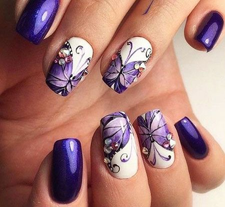 Purple Nails in 2020 | Butterfly nail designs, Purple nail art .