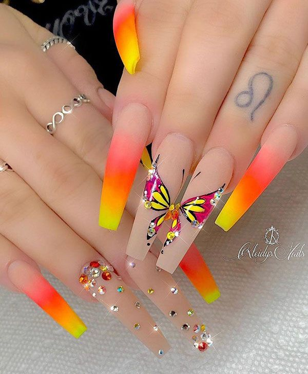 50 Pretty Butterfly Nail Art Designs You Will Love | Coffin nails .
