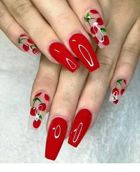 Cute red cherry nails   Inspiring Ladies   Short acrylic nails .