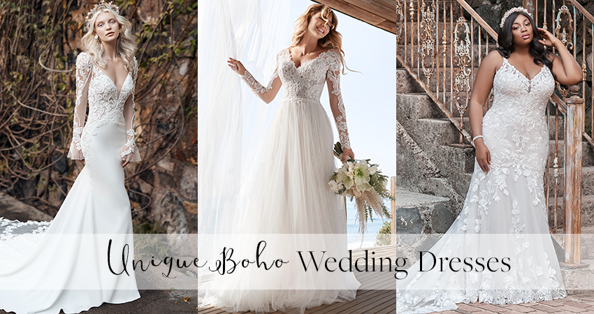 Ten Unique Boho Wedding Dresses for Effortlessly Chic Bri